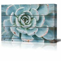 Wall26 - Green and Blue Succulent - Canvas Art Home Decor -
