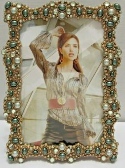 Green Pearls and Crystals Jeweled Gold Plated 4X6 Picture Ph