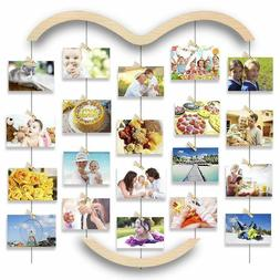 Hanging Photo Display for Wall,Wood Picture Frame Collage w/