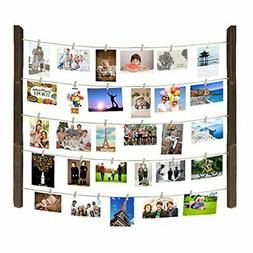 Hanging Photo Display, Hanging Pictures Holders with Wooden