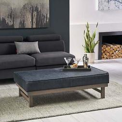 hillman modern microfiber cocktail ottoman with wood