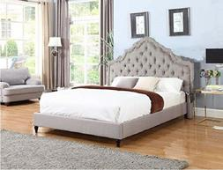 King Size Gray Platform Bed Nailed Button Tufted Arch Headbo