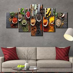 Kitchen Food Spices Spoon 5 Piece Canvas Wall Art Poster Pri