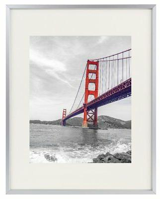 11x14 aluminum silver photo frame with ivory