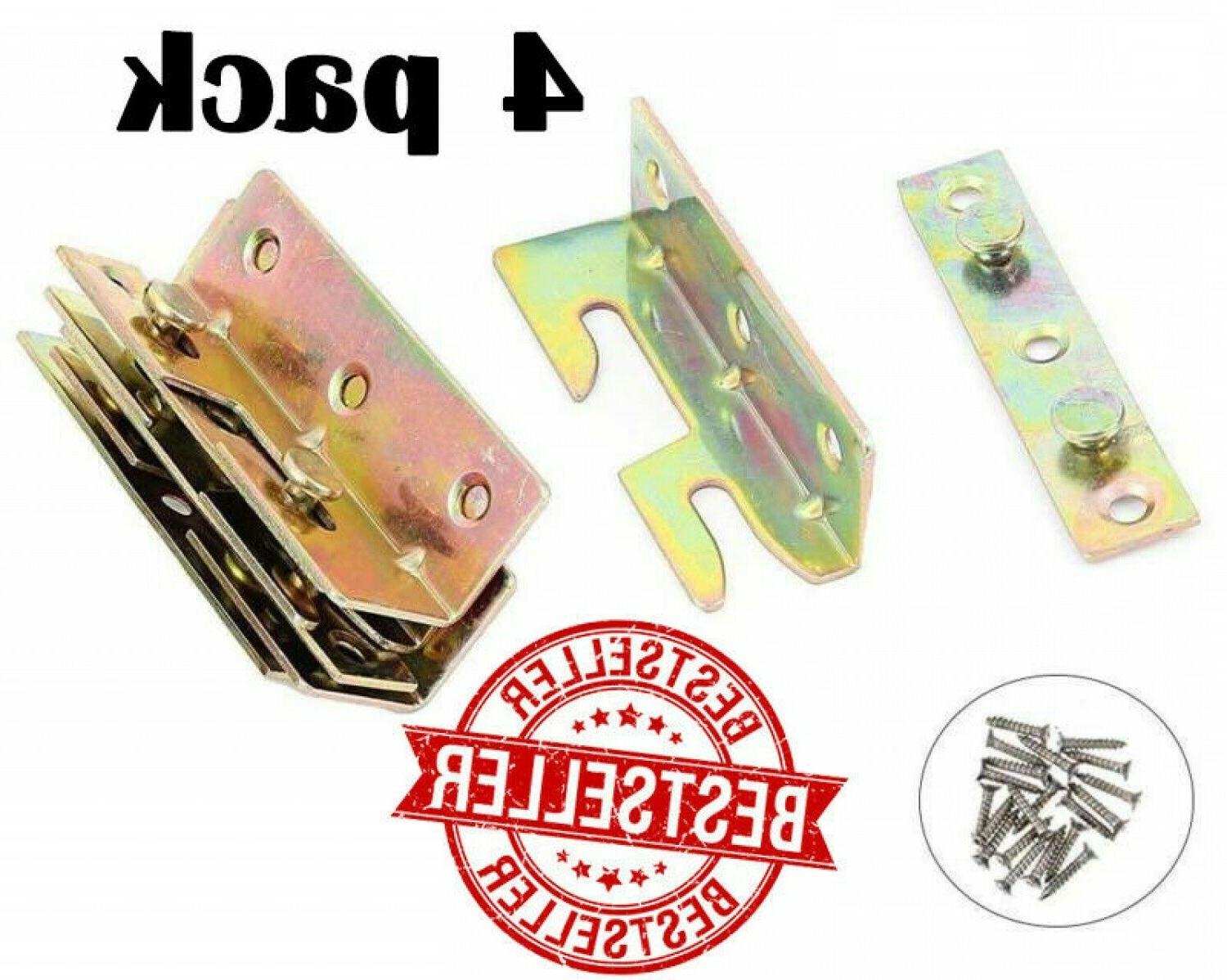 4 Set Bed Frame Rail Fitting Brackets Woodworking Accessorie