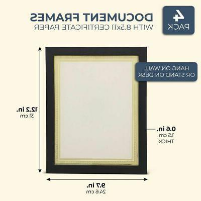 4x Document Frame Blank Certificate Paper for Diploma Photo