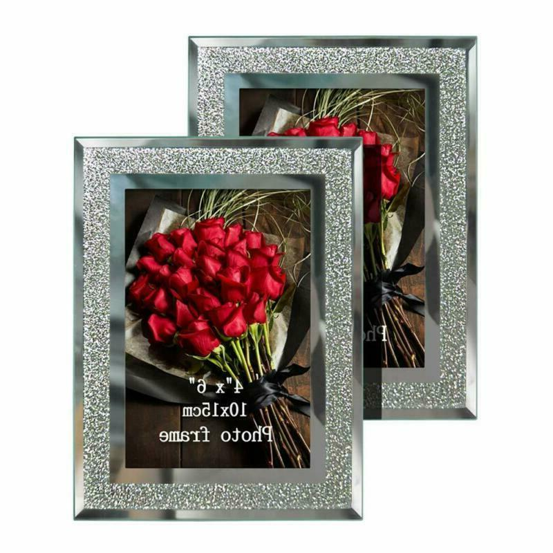 2 Pack 4x6 Picture Frames Sparkle Glass Photo Frame Freestan