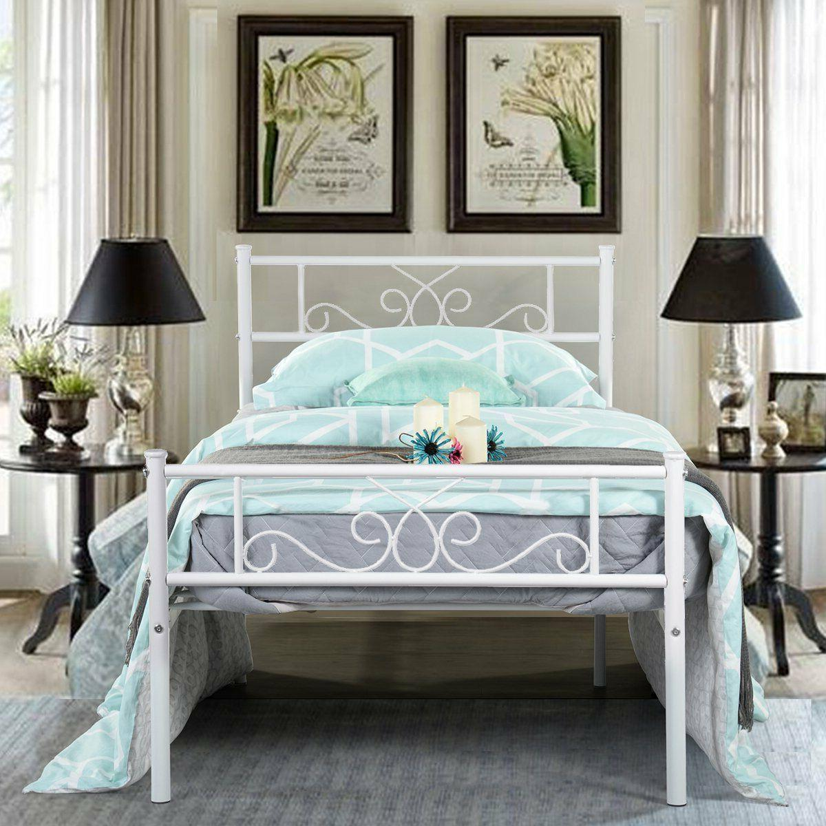 Twin Size Metal Bed Frame Mattress Foundation with Headboard