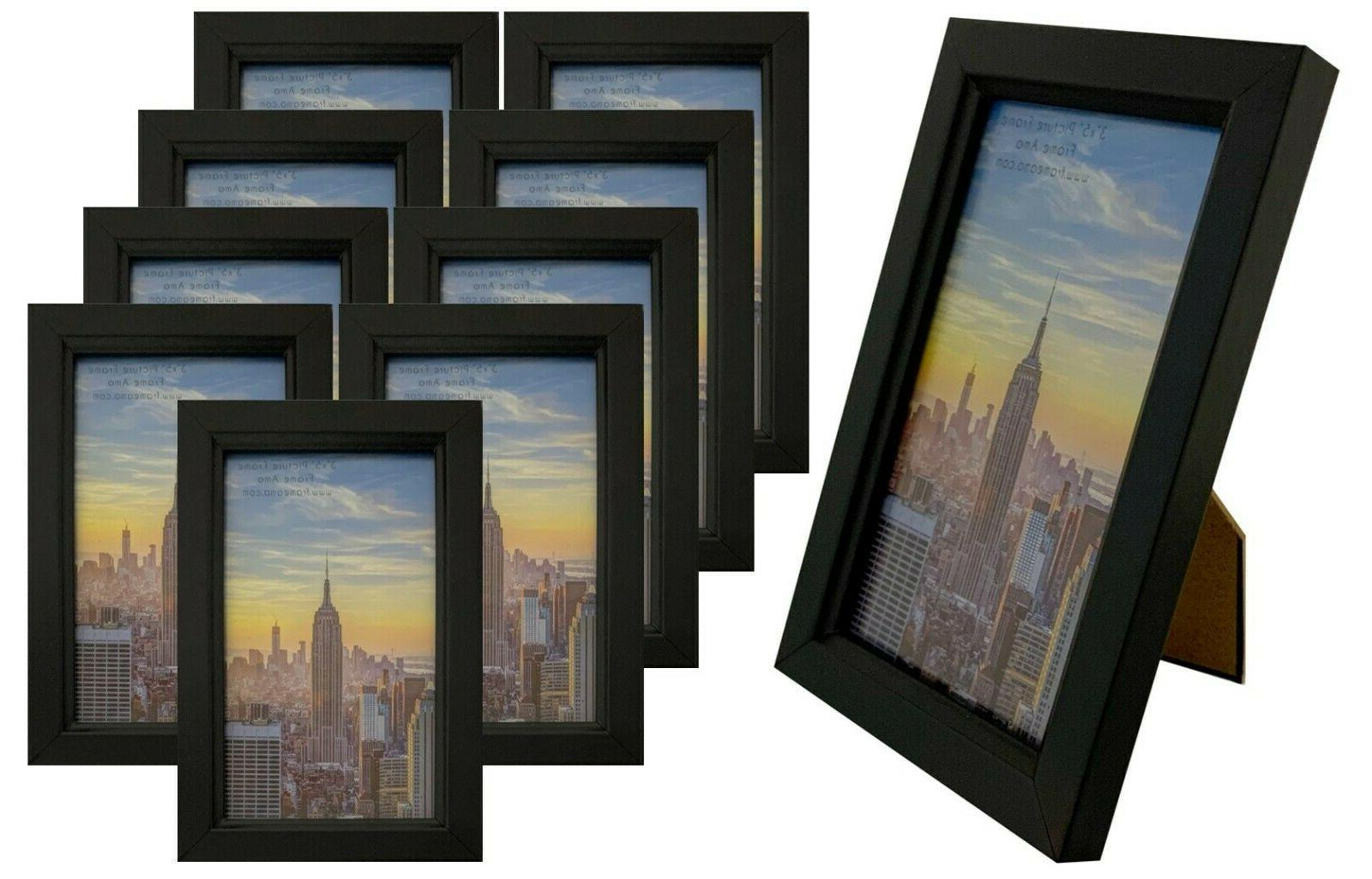 3x5 black wood picture frame glass front