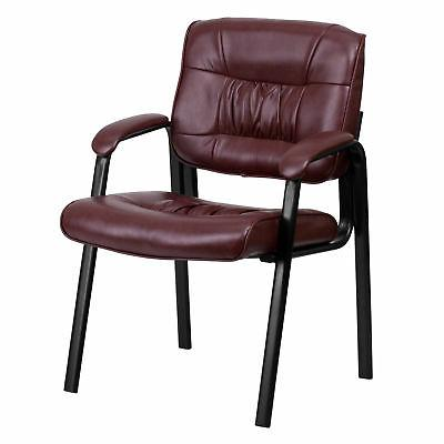burgundy leather executive side chair with black
