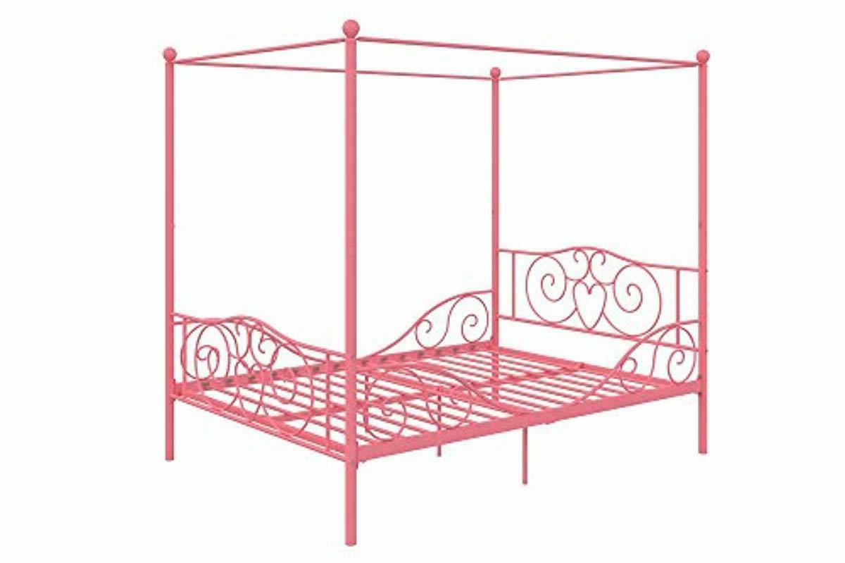 DHP Canopy Bed with Sturdy Pink,