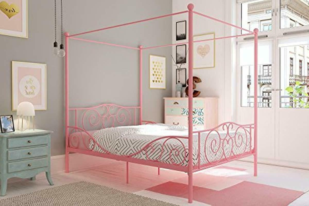 canopy metal bed with sturdy bed frame