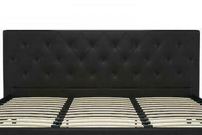 Contemporary Black Leather Size Frame Tufted Headboard And