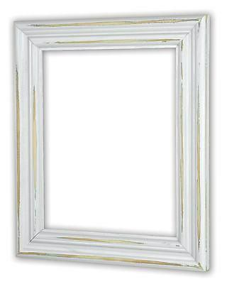 distressed white picture frame solid wood