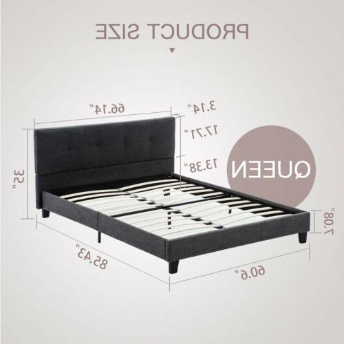 Queen Size Platform Bed Frame Upholstered Headboard with Wood