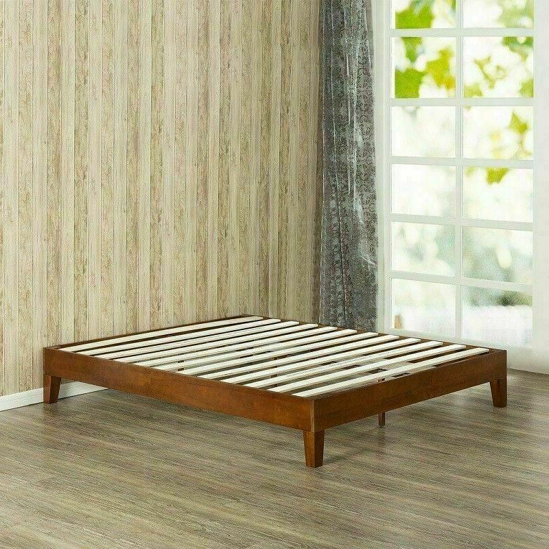 Twin Size Bed Frame Solid Wood Modern Farmhouse Platform Mid
