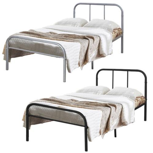 Twin Metal Platform Bed Mattress Foundation Steel Bedroom