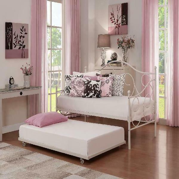 universal daybed trundle metal frame rolling away