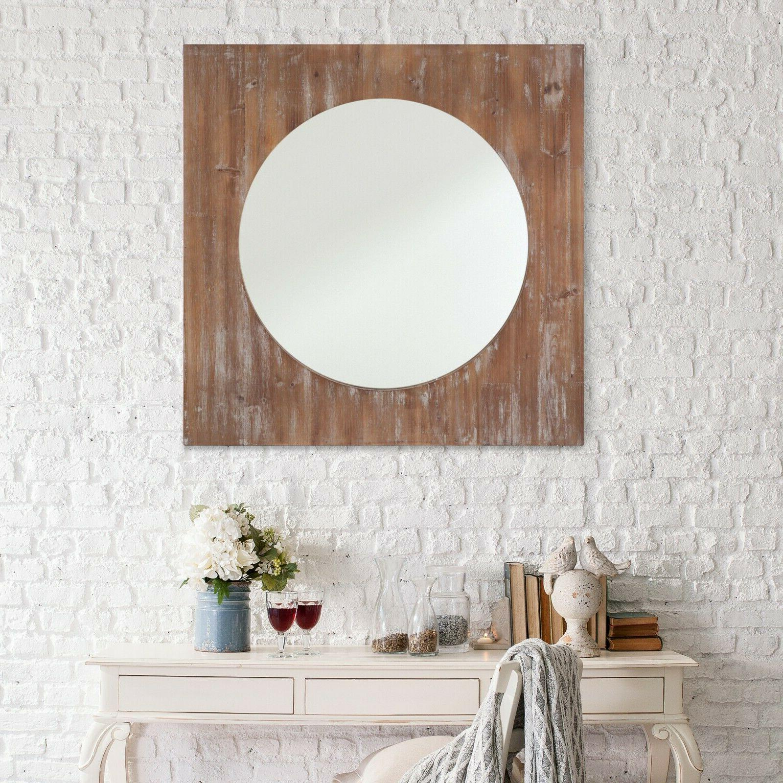 Wall Mount Wood Frame Mirror Oval Vintage Chick Makeup Decor