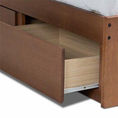 Baxton Size Walnut 3-Drawer Bed Frame
