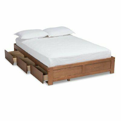 Baxton King Size 3-Drawer Bed