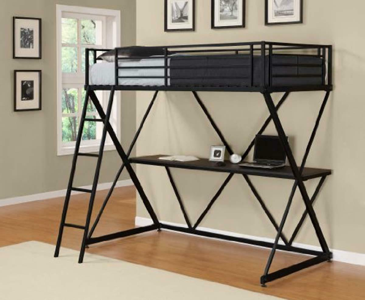 DHP X-Loft Metal Bed Frame with Desk - Space - Twin, Black