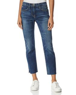 FRAME Le Boy Raw-Edge Slit Rivet Boyfriend Jeans in Burnett