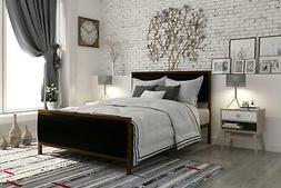DHP Lennox Metal Bed with Gold Frame and Black Faux Leather,