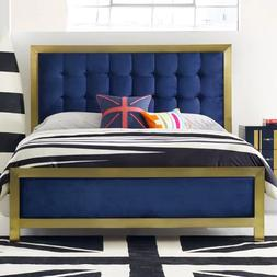 Luxury PANEL BED FRAME King Size Gold Plated Metal & Cotton