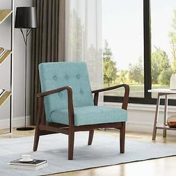 Marcola Mid Century Modern Fabric Club Chair with Wood Frame