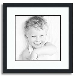 """ArtToFrames Matted 16x16 Black Picture Frame with 2"""" Double"""