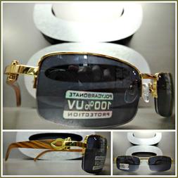 Men's CLASSY Style SUN GLASSES Gold & Wood Wooden Effect Fas