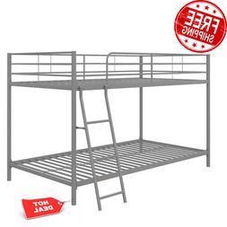 Metal Bunk Beds Frame Twin Over Twin Size Ladder Kid Teen Ad