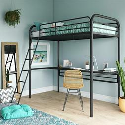 DHP Metal Loft Bed with Desk, Twin Size Frame, Black Metal/B