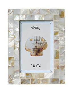 GIFTME 5 Mother of Pearl Mosaic Photo Frame Beach Ocean Pict