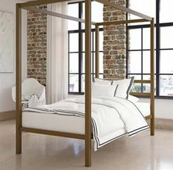 NEW DHP Canopy Metal Bed with Sturdy Bed Frame, Gold, Twin
