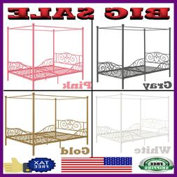 New Full Size Metal Canopy Bed Sturdy Metal Frame w/ Heart D