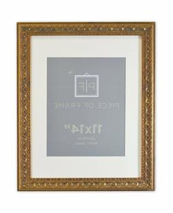 11x14 Ornate Finish Photo Frame, Bronze Color, with White Ma