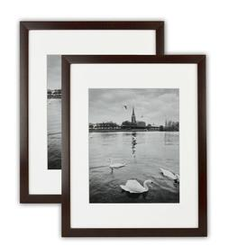 Pack of 2, 11x14 Expresso Color Wood Swan Photo Frame with R