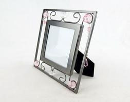 Picture Frame, Metal, Wire & Beads, 3x3 Photo Window, Cassia