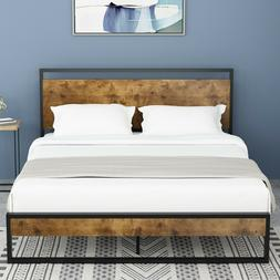 QUEEN/FULL Size Platform Metal Bed Frame With Wood Headboard