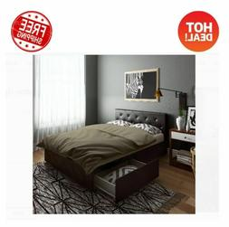 Queen Size Bed Frame With Storage Drawers Tufted Headboard B