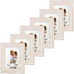 Langdons 5x7 Real Wood Picture Frames , White Wooden Photo F