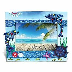Resin Blue Dolphin Mosaic Picture Frame, 6 X 4 Inch Sculptur