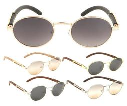 LUXE SCHOLAR OVAL LUXURY SUNGLASSES ROUND METAL FAUX WOOD FR