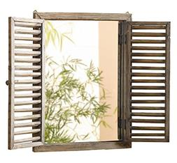 Shuttered Mirror with Frame - Rustic Mirror with Wooden Fram