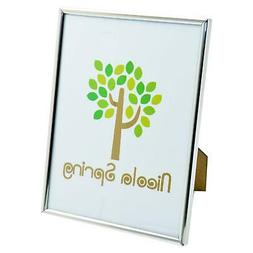 Silver Photo Frame Glass Metal Standing Picture Desk Display