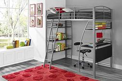 DHP Studio Loft Bunk Bed Over Desk and Bookcase with Metal F
