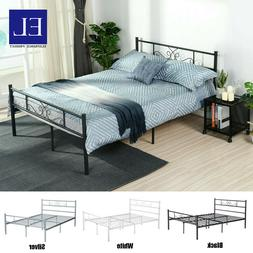 Full Queen Size Metal Bed Frame Mattress Foundation With Hea