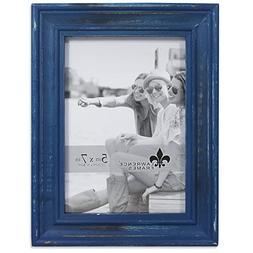 Lawrence Frames Weathered Woods 5x7 Durham Navy Blue Picture